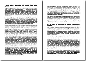 Conseil d'Etat, Assemblée, 30 octobre 2009, Mme Perreux