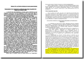 Commentaire d'un extrait de la conférence de presse du général de Gaulle du 31 Janvier 1964 : Le Premier ministre et le travail gouvernemental