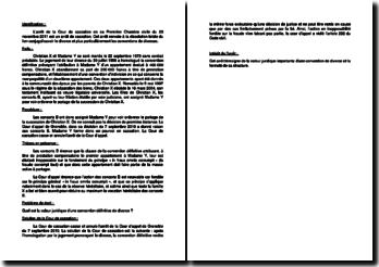 Fiche d'arrêt de la Première Chambre civile de la Cour de cassation du 23 novembre 2011 : les conventions de divorces
