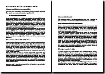 Fiche d'arrêt de la Deuxième Chambre civile de la Cour de cassation du 11 septembre 2014 : la responsabilité des père et mère du fait de leur enfant mineur