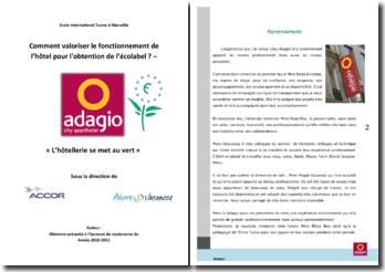 Comment valoriser le fonctionnement de la résidence Adagio pour l'obtention de l'Ecolabel ?