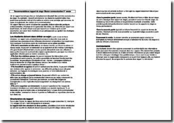 Recommandations pour la rédaction d'un rapport de stage- Master communication 5 année