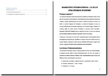 Marketing international : le plan stratégique d'export