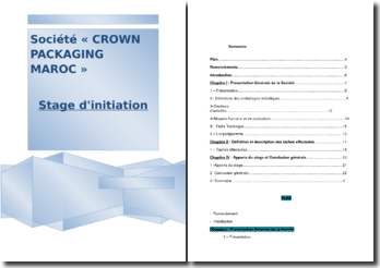 Stage effectué à Crown Packaging Maroc