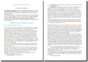 Institutions politiques et administratives - L'origine de la 5e république