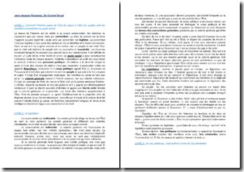 Du Contrat Social - Jean-Jacques Rousseau : résumé