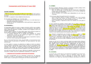 Cour de cassation, 3e chambre civile, 27 mars 2002 - Arrêt Trévisan, droit de la franchise