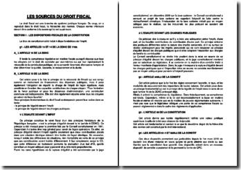 Les sources du droit fiscal : Constitution, traités internationaux, loi, etc.