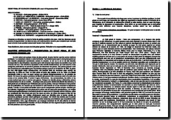 Droit pénal et sciences criminelles - L'infraction