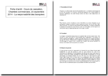 Fiche d'arrêt - Cour de cassation, Chambre commerciale, 23 septembre 2014 - La responsabilité des banquiers