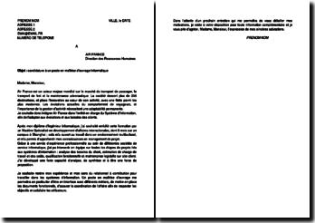 Exemple de lettre de motivation à un poste en maîtrise d'ouvrage informatique