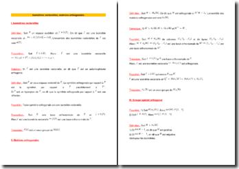 Isométries vectorielles et matrices orthogonales