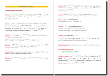 Intégration sur un segment : définitions et théorèmes