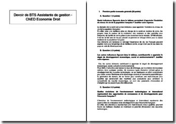Devoir de BTS Assistante de gestion - Cned Economie Droit