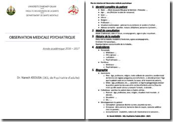 Observation médicale psychiatrique (Plan de rédaction)