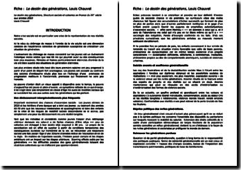 Le destin des générations - Structure sociale et cohortes en France du XX siècle aux années 2010 - Louis Chauvel, 1998
