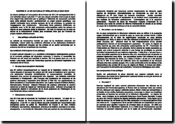 Histoire culturelle et intellectuelle de la France au XXe siècle - Pascale Goetschel, Emmanuelle Loyer - Chapitre 4, La vie culturelle et intellectuelle sous Vichy