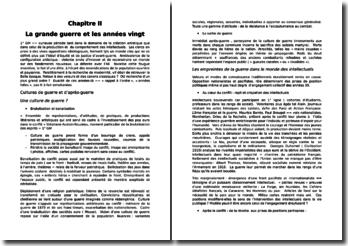 Histoire culturelle et intellectuelle de la France au XXe siècle - Pascale Goetschel, Emmanuelle Loyer - Chapitre 2, La Grande Guerre et les années vingt