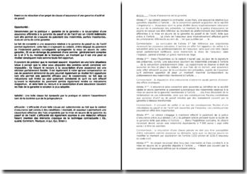 Exercice de rédaction d'un projet de clause d'assurance d'une garantie d'actif et de passif