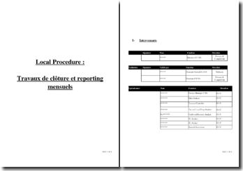 Procédure de description des travaux de clôture et de reporting mensuel
