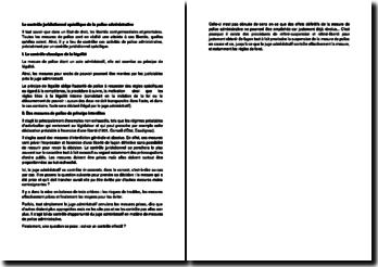 Le contrôle juridictionnel spécifique de la police administrative