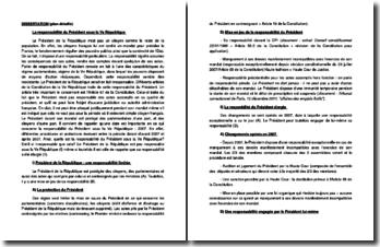Plan détaillé sur la responsabilité du Président sous la Vème République