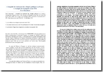L'inégalité de traitement des réfugiés politiques en France - L'exemple des Espagnols avant 1936 - Yves Denechere, 2001