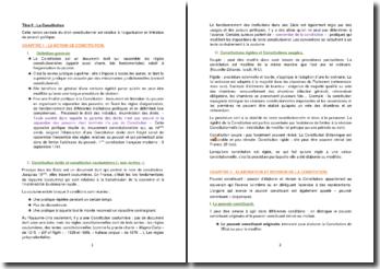 La notion de Constitution : définition, élaboration, révision et contrôle