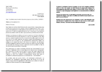 Exemple de lettre de motivation pour une candidature au poste d'éducatrice de jeunes enfants