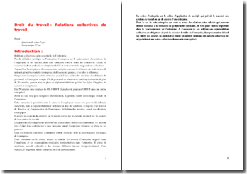 Droit du travail - Relations collectives de travail