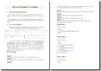 Découvrir le langage C grâce à des exemples pratiques