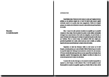 Le transfert de propriété selon le droit français et allemand