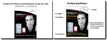 Analyse graphique d'une affiche de sensibilisation au don de sang de l'Établissement français de santé (EFS)