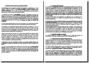 La décision de la Commission au regard des ententes
