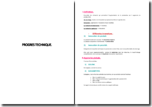 Approche globale et définition du progrès technique
