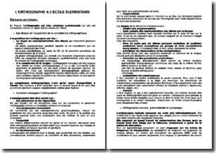 Concours de recrutement de professeurs des écoles (CRPE) - L'orthographe à l'école élémentaire