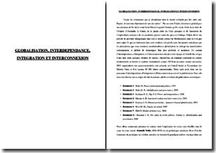 Théorie des relations internationales - Globalisation, interdépendance, intégration et interconnexion