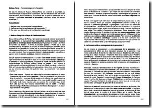 Phénoménologie de la perception - Maurice Merleau-Ponty (1945)