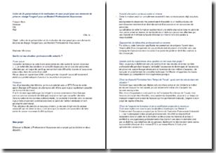 Lettre de de présentation et de motivation de mon projet pour une demande de prise en charge Fongecif pour un Master2 Professionnel Assurances