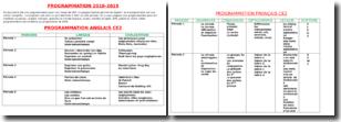 Tableau de programmation pour une classe de CE2