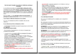 Droit du travail - Evaluation et contrôle de l'activité des salariés par l'employeur