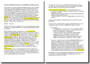 Droit des collectivités territoriales - Les collectivités à statut particulier
