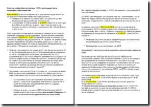 Droit des collectivités territoriales - EPCI (établissement public de coopération intercommunale), renforcement de la coopération intercommunale