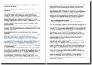 Droit des collectivités territoriales - La répartition des compétences des collectivités territoriales