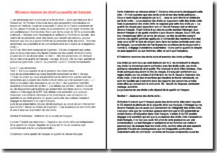 Histoire du droit - La qualité de français