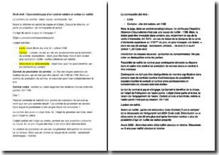 Droit civil - Caractéristiques d'un contrat valable et action en nullité