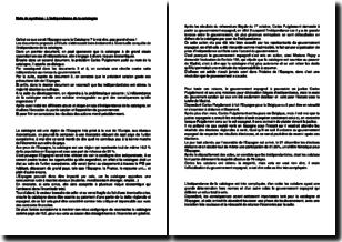Note de synthèse : l'indépendance de la Catalogne
