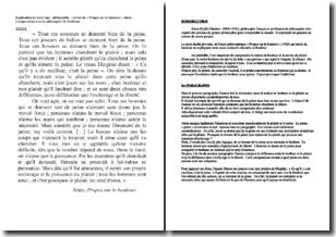 Propos sur le bonheur - Alain (1925) - Comparaison avec la philosophie de Jeremy Bentham