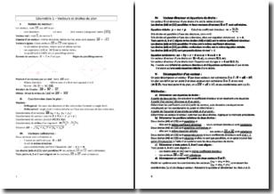 Géométrie 1re S - Vecteurs droites du plan et trigonométrie