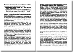 L'espace social - 4 questions réponses sur des extraits de texte de Pierre Bourdieu et d'Anne Clerval